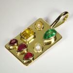 Ruby, Emerald, Pearl And Yellow Sapphire Raj Yogh Pendant