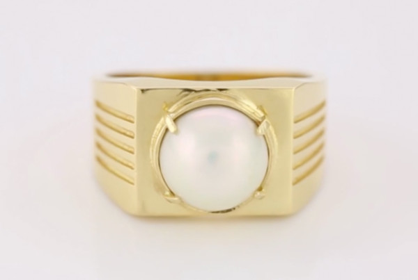 White Pearl Ring, Real Salt Water Pearl Set In Gold Ring