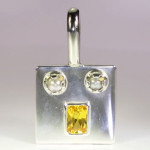 Yellow Sapphire Em Cut And Real Salt Water Pearl Set In Silver Pendant