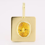 Yellow Sapphire Em Cut Set In Gold Pendant