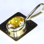 Yellow Sapphire Oval Cut Set In Gold Pendant