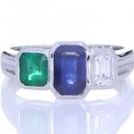Blue Sapphire, Green Sapphire And A Diamond Ring