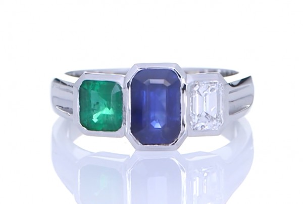 Blue Sapphire, Green Sapphire And A Diamond Ring