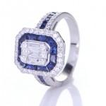 Blue Sapphire With Diamond Ring