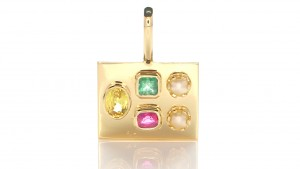 Green And Yellow Sapphire With Ruby And 2 White Pearls