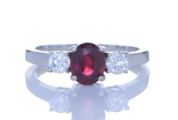Ruby With 2 Diamonds