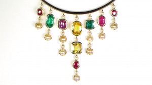 White Pearls With Yellow, Green And Ruby Sapphires