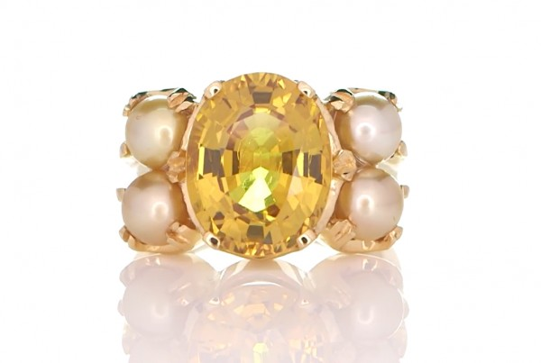 Yellow Sapphire And 4 White Pearls With Golden Ring