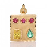 Yellow Sapphire, Green Sapphire With 3 Rubies