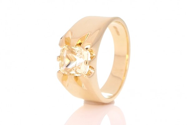 Yellow Sapphire With Golden Ring