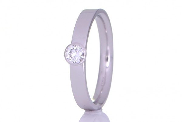 Round Diamond On A Silver Ring