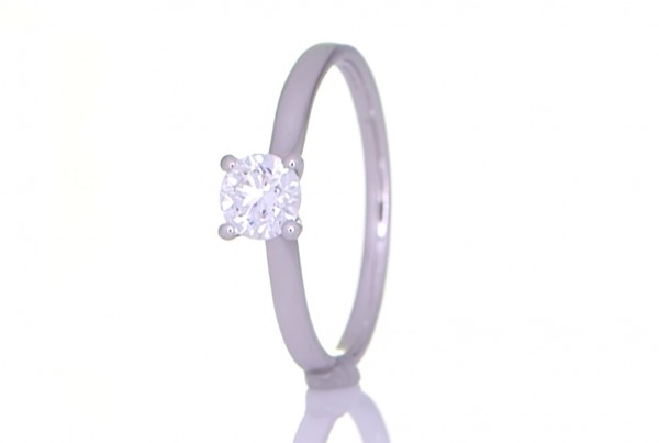 Square Diamond On A Silver Ring