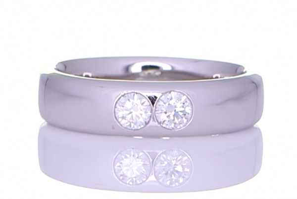 Two Circle Diamond On A Silver Ring