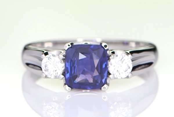 Blue Sapphire With Two Diamonds copy