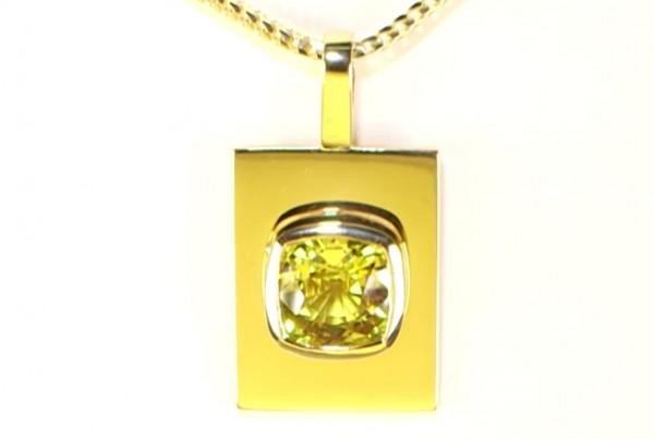 Golden Sapphire Mounted On A Golden Pendant