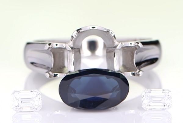 Silver Ring With a Separate Blue Sapphire And Two Diamonds