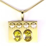 Two Yellow Sapphires With Four White Pearls