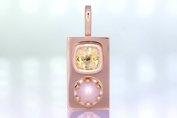 Yellow Sapphire With A White Pearl Mounted On A Golden Pendant