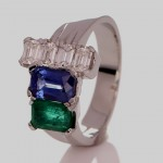Four Diamonds With Green Emerald And A Blue Sapphire