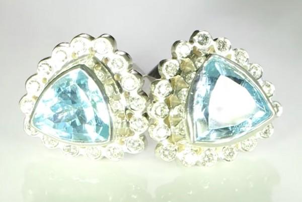 Aquamarines And Diamonds Cufflinks Bespoke Design In Platinum