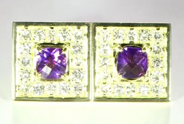 Blue Sapphire And Diamonds Cufflinks Bespoke Design in Gold
