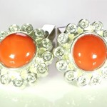 Real Sea Red Corals And Diamonds Cufflinks In Silver