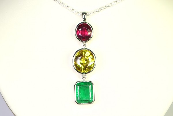 Ruby, Yellow Sapphire And A Green Emerald