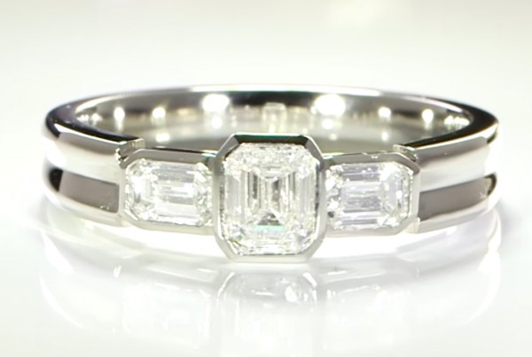 Three Diamonds Mounted In a Platinum Ring