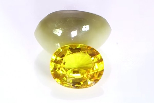 Yellow Sapphire And Real Cat's Eye