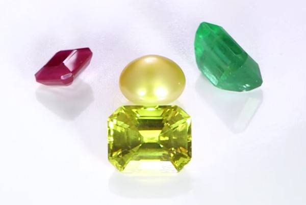 Yellow Sapphire, Ruby, Emerald And Real Salt Water Pearl