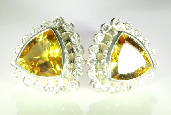 Yellow Sapphires And Diamonds Cufflinks Bespoke Design In Silver