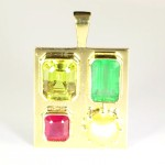 two Yellow Sapphires With Ruby & A Green Emerald Mounted On A Golden Pendant