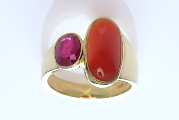 Golden Ring With Red Sea Coral And A Ruby