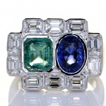 Blue Sapphire, Green Emerald With 10 Diamonds On A Platinum Ring