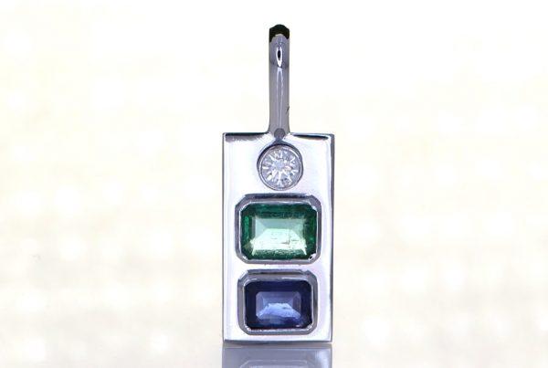 A Diamond, Green Emerald & Blue Sapphire Mounted Onto Platinum Pendant