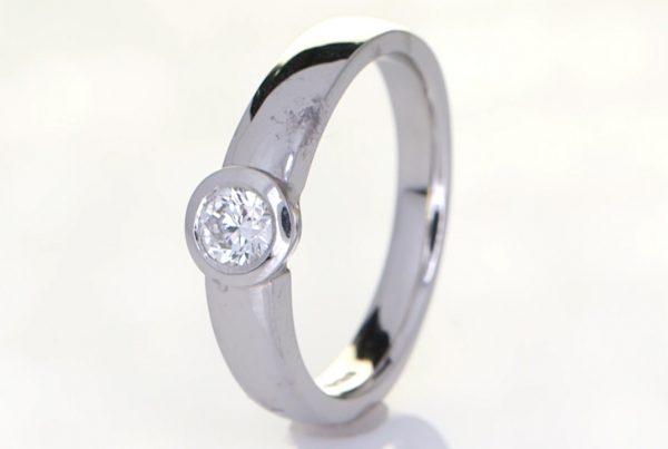 Diamond Mounted Onto A Platinum Ring