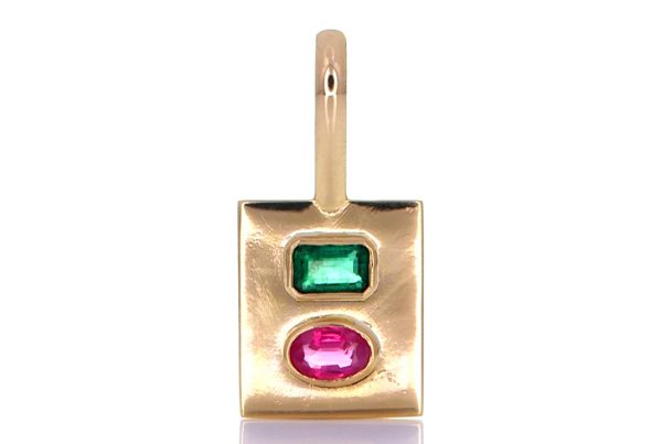 Golden Pendant With Green Emerald And A Ruby