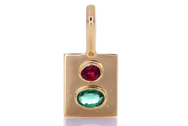 Golden Pendant With Green Sapphire And A Ruby