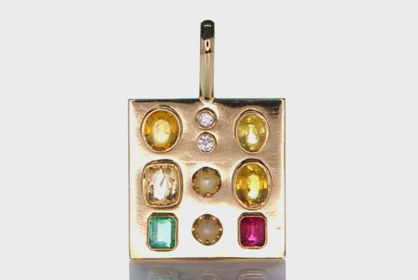 Golden Pendant With Two Diamonds, Two Real Salt Water Pearl, Ruby, Sapphire and Three Yellow Sapphires