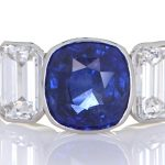 Platinum Ring With Two Diamonds And Blue Sapphire