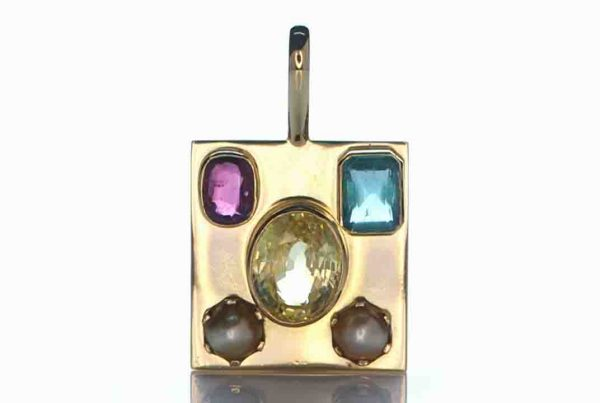 Gold Pendant With 2x Real Salt Water Pearl, Golden Yellow Sapphire, Emerald and Ruby
