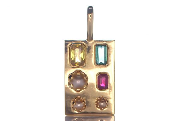 Golden Pendant With Yellow Sapphire, Green Emerald, Ruby And 3 Real Salt Water Pearls