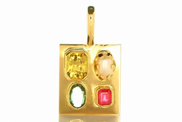 Golden Pendant With Yellow Sapphire, Green Sapphire, Ruby & Real Water Salt