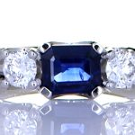 Platinum Ring With Two Diamonds & Blue Sapphire
