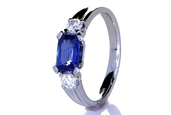 Platinum Ring With Two Diamonds & Blue Sapphire | Prakash Gems