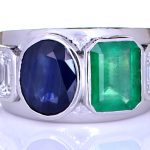 Platinum Ring With Two Diamonds, Green Sapphire & Blue Sapphire