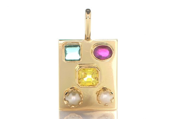 Golden Pendant With Yellow Sapphire, Green Emerald, Ruby And 2 Real Salt Water Pearls