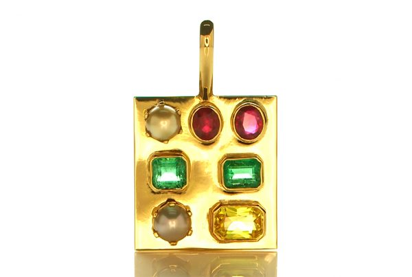 Golden Pendant With Two Real Salt Water Pearls, Two Green Emeralds, Two Rubies and a Yellow Sapphire