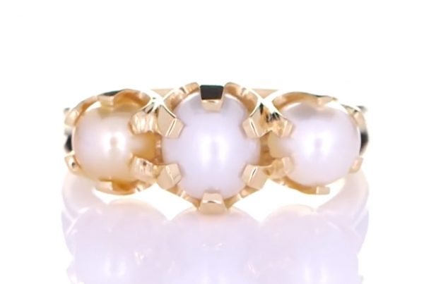 Three Real Salt Water Pearls Claw Set In Gold Ring
