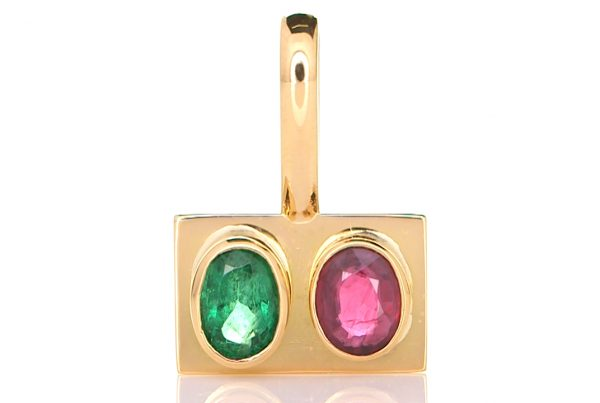 Golden Pendant With Emerald And A Ruby